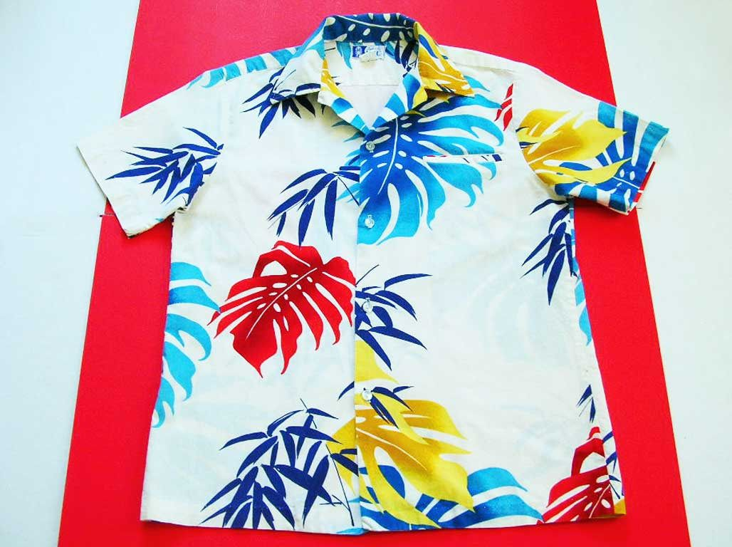 418d66e2 Authentic Hawaiian Aloha Mens Shirt Vintage 1960 RJC Ltd. Label Made In  Hawaii Size M Colorful Tropical Leaves On Lightweight White Cotton by  DesignsFindsKC ...