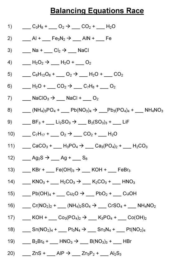 Balancing Chemical Equations Mr Durdels Chemistry – Balancing Equations Practice Worksheet