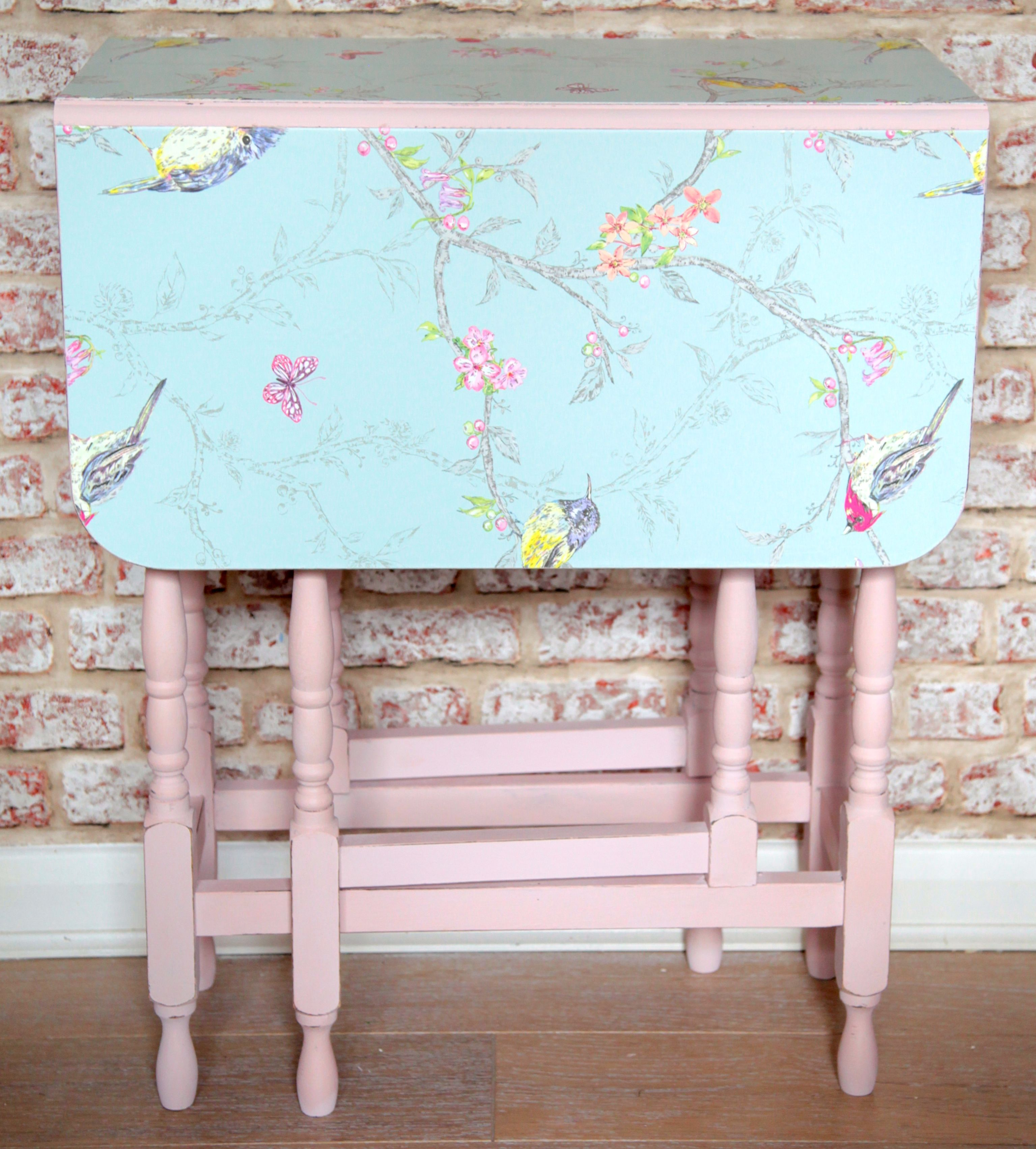 Shabby Chic Drop Leaf Fold-Away Table Upcycled In Pastel Pink Paint ...