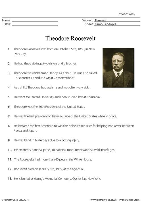 theodore roosevelt fact sheet worksheet english printable worksheets. Black Bedroom Furniture Sets. Home Design Ideas