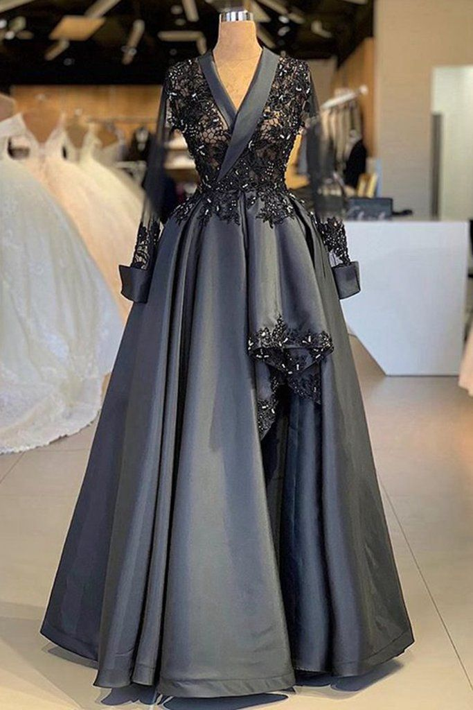 Dark Gray Satin Arabic Style Women Evening Dress, Prom Dress With Sleeve #promdresses