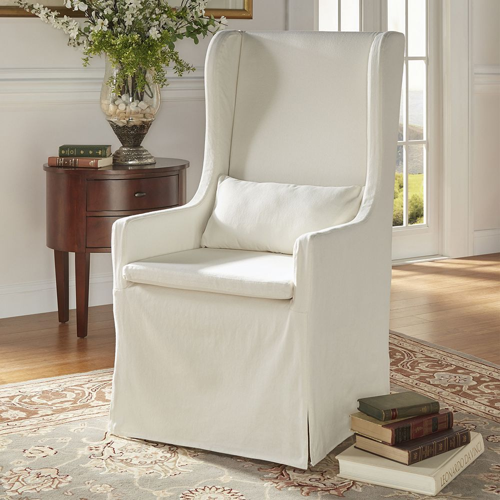 HomeVance Grace Hill Wingback Slip Covered Hostess Chair ...