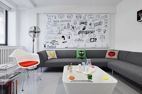 Whiteboard Paint in Living Room