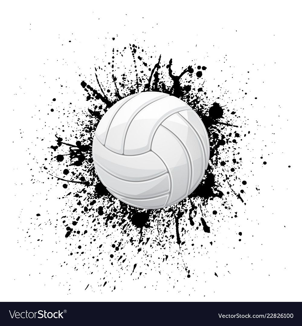 White Outline Volleyball Symbol With Ink Blots Isolated On White Background Download A Free Preview In 2020 Ancient Viking Symbols Fireworks Background Mandala Vector