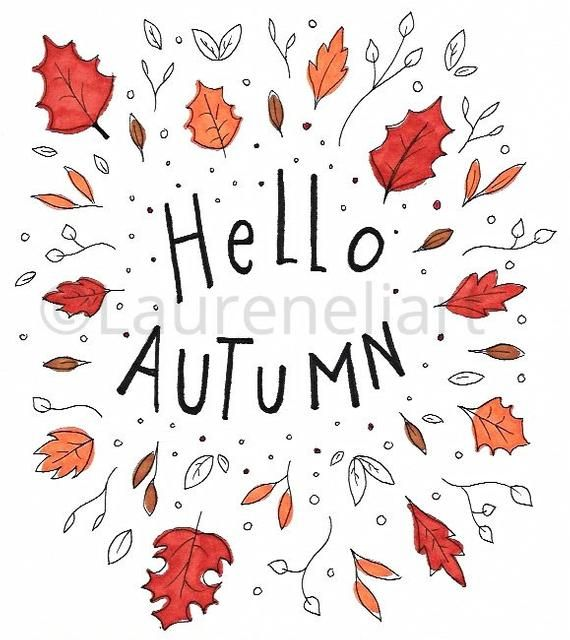 Hello Autumn illustration | Cute wall art | Wall decor | Art print | Leaves | Colourful | Fall | Har #helloautumn