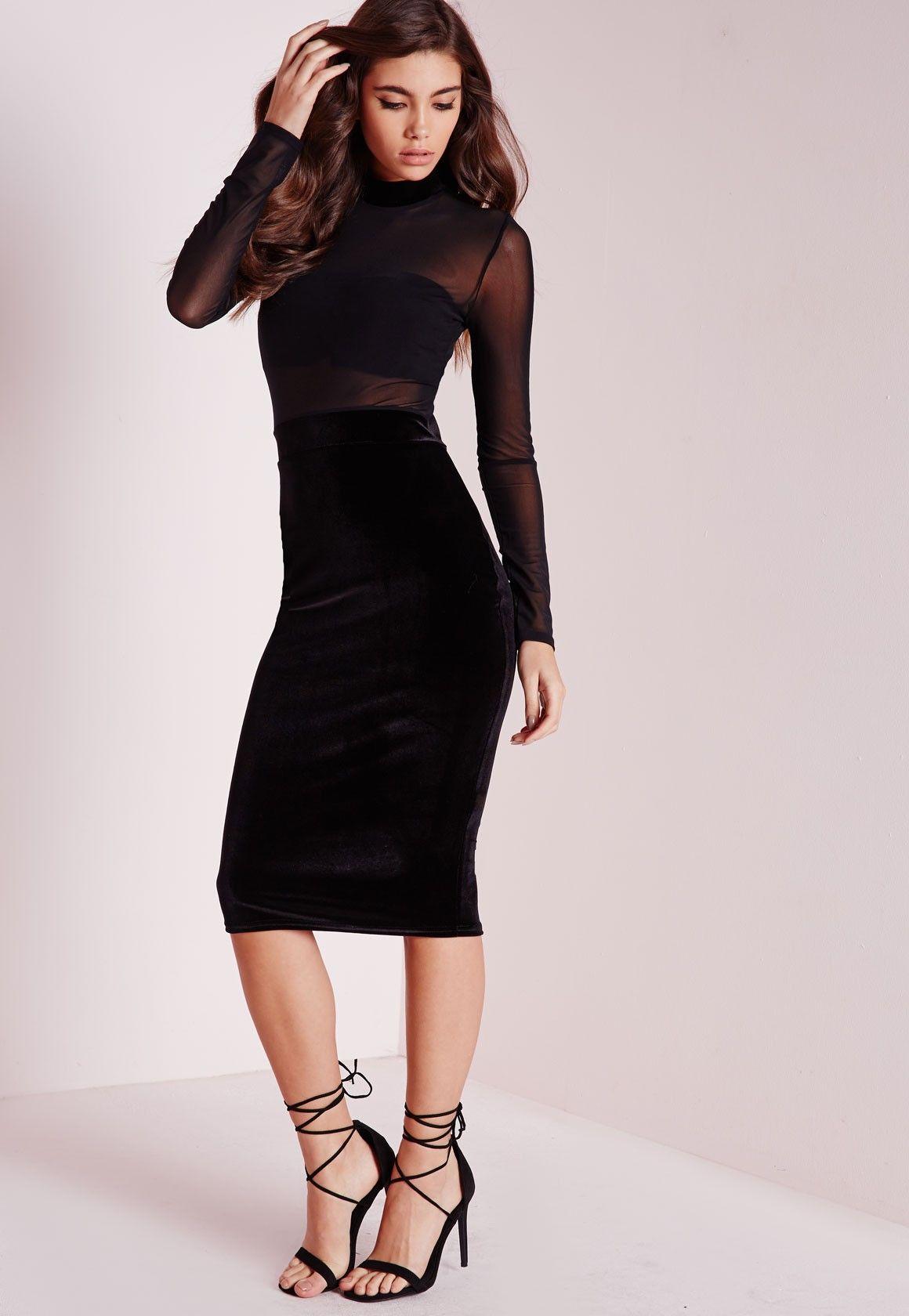 Missguided Long Sleeve Mesh Top Velvet Bottom Midi Dress Black Simple Long Sleeve Dress Black Midi Dress Long Sleeve Mesh Top [ 1680 x 1160 Pixel ]