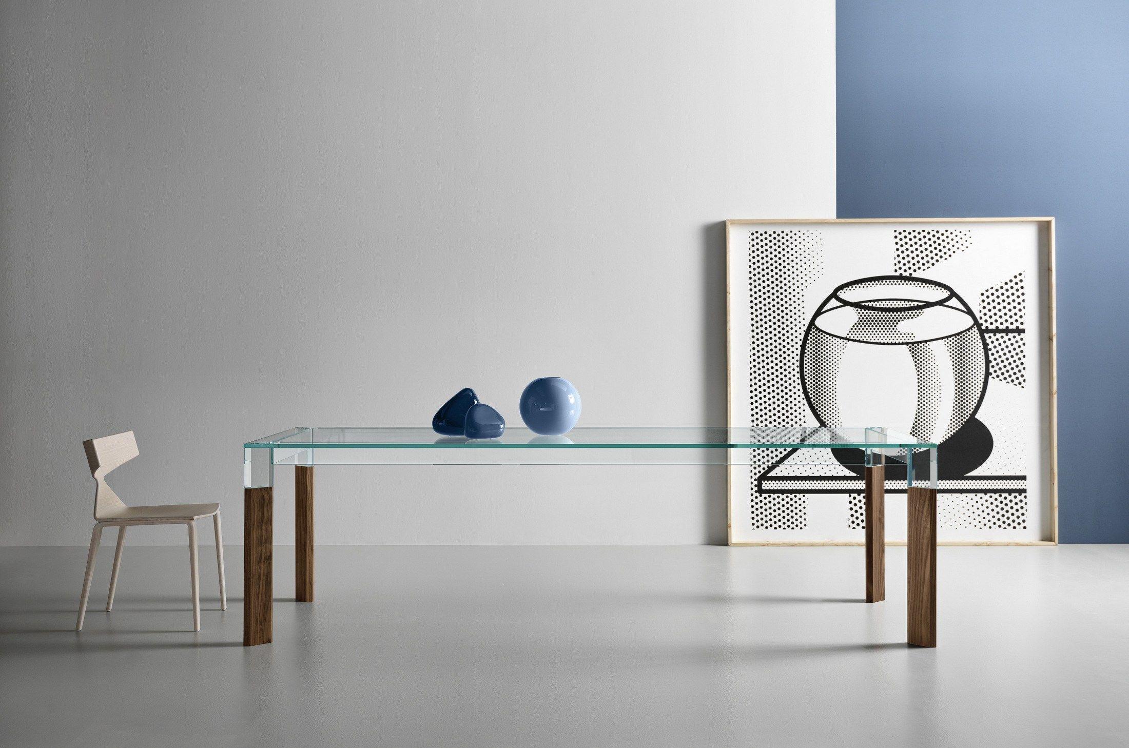 Tavoli Alti Legno : Tavolo da pranzo rettangolare in legno e vetro perseo by t d