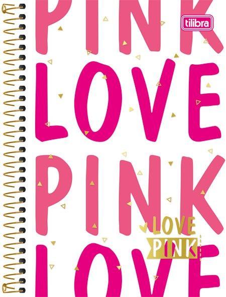 Caderneta Espiral Capa Dura 1 8 Love Pink 96fls Caderno Love