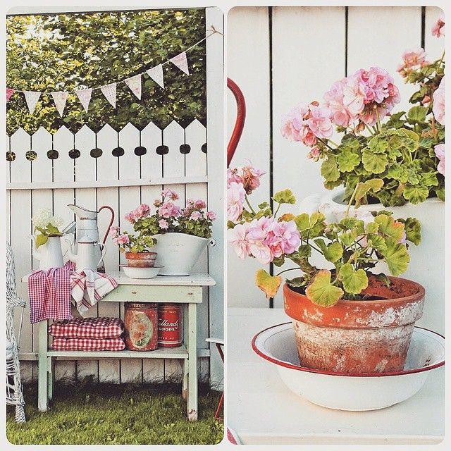 En sommerdag fikk jeg en telefon om å komme å se i et hus som skulle tømmes...Jeg fant svært lite men innerst i vaskekjelleren sto et lite herlig grønt bord..De bare lo av meg når jeg sa at det ville jeg haMen her gleder man seg bare over hvor fint det gjør seg med rødt, hvitt og rosaFIN fredag alle fine der ute #Summer #pelargoner #vimplar #cottage #countrylife #levlandlig #vibekedesign