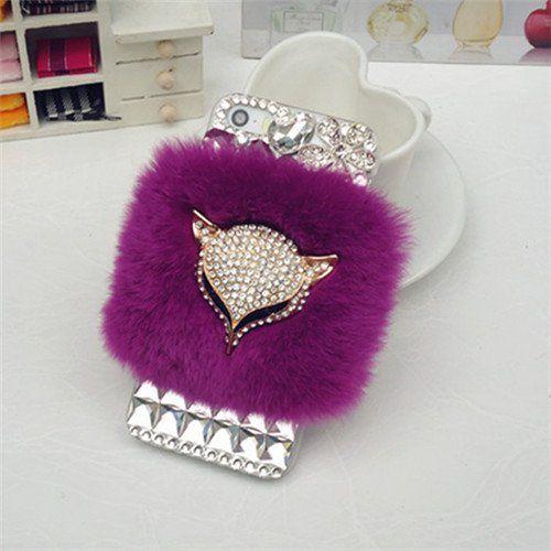 iPhone 5C Case, Firefish Ultra Luxury Crystal Bling Sunflower Diamond [Fox Design] Elegant Soft Warm Slim Fur Case Skin for Apple iPhone 5C  Premium Stylus and Pluggy -Purple