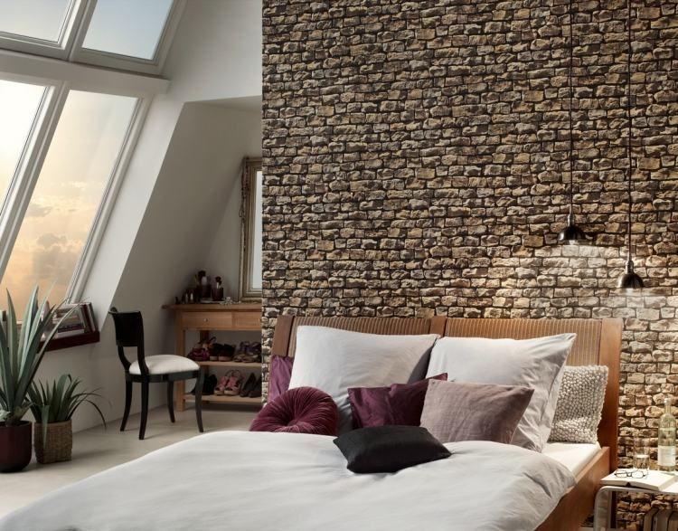 realistische Tapete mit Naturstein-Optik fürs gemütliche - schlafzimmer gestalten tapeten