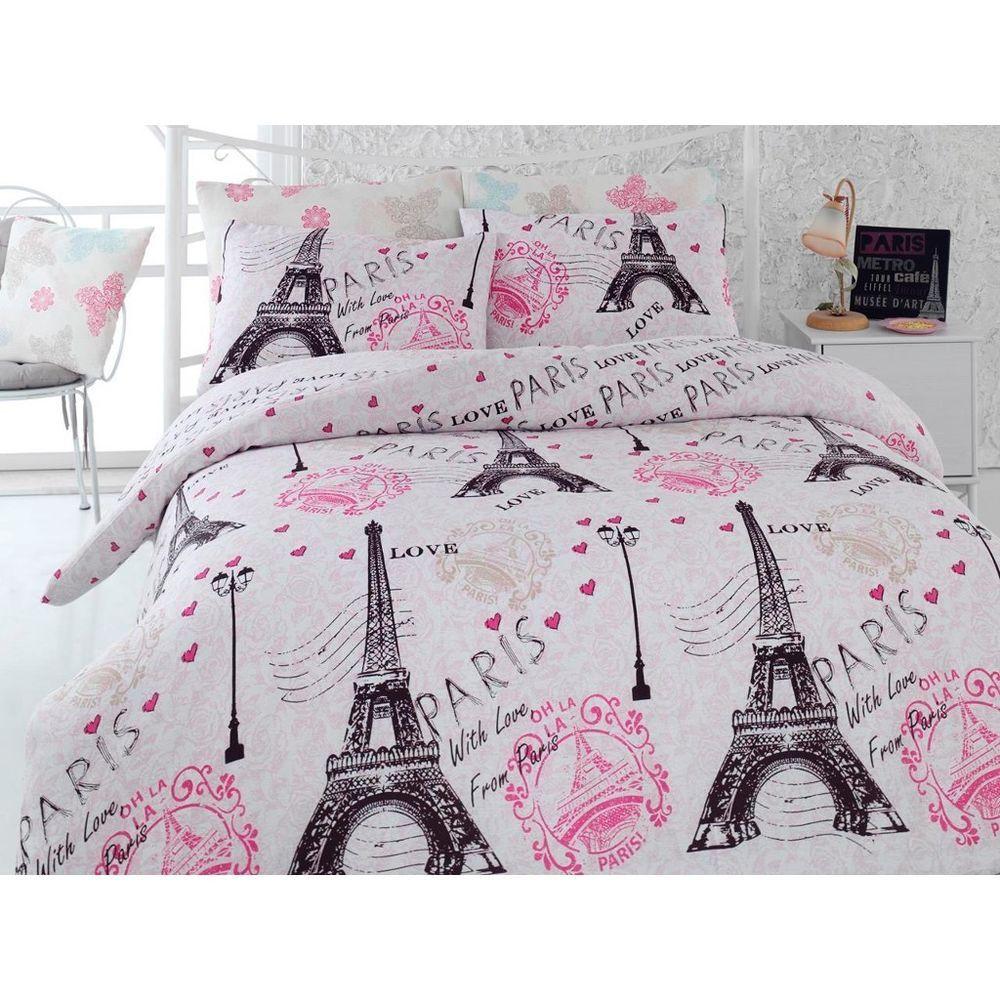 paris eiffel tower pink twin queen bedding duvet cover set landscape bed duvet covers. Black Bedroom Furniture Sets. Home Design Ideas