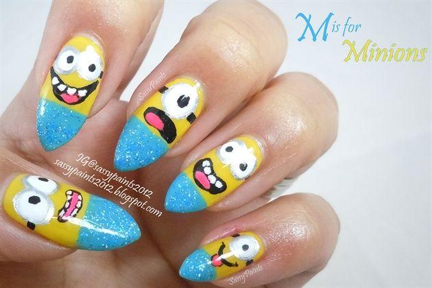 Minion Nail By Sassypaints Nail Art Gallery Nailartgallery