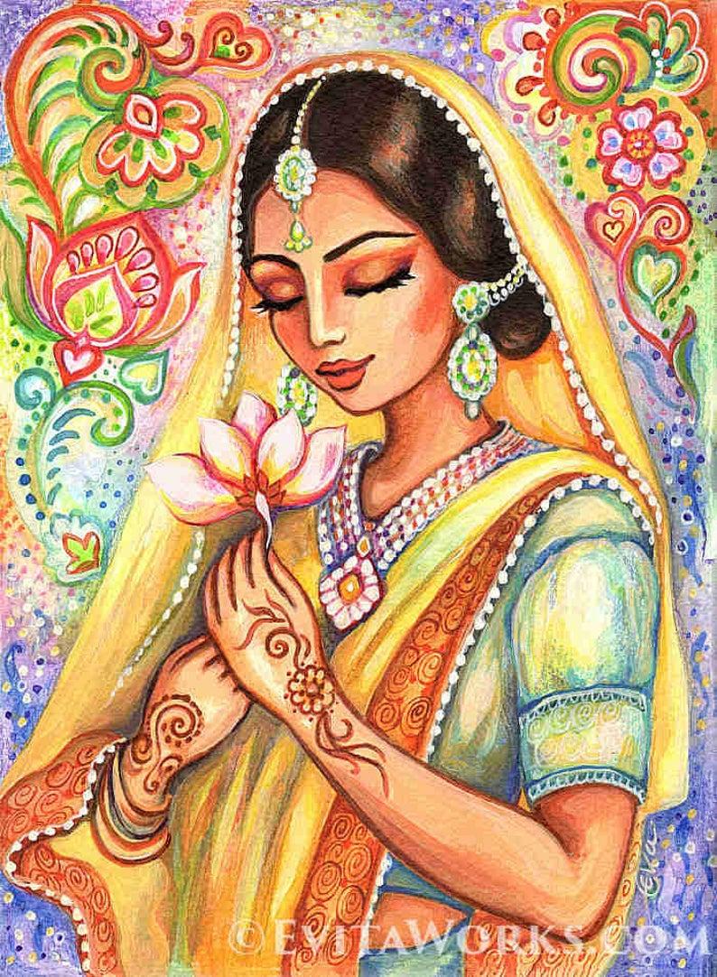 Lotus woman, praying woman, India art, spiritual art