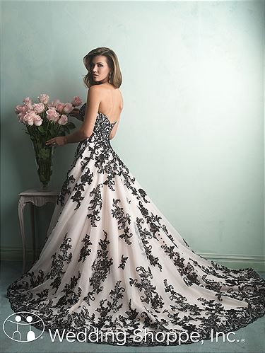 Look stunning in champagne and black. Allure Bridal Gown 9150