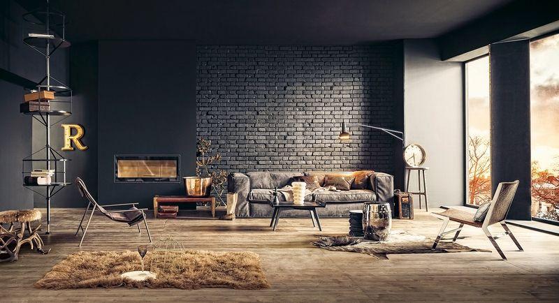 salon style industriel design avec parement en brique noire et ...