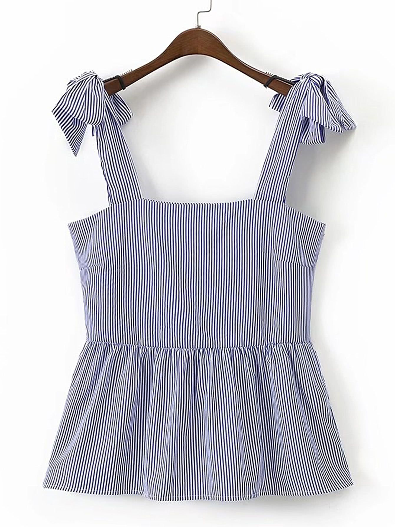 Shop Bow Tie Shoulder Pinstripe Top online  SheIn offers Bow Tie Shoulder Pinstripe Top & more to fit your fashionable needs  is part of Blouse designs -