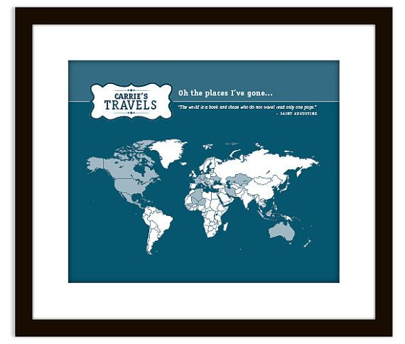 Personalized Places Ive been Travel Map Art Print – Travel Map Where I Ve Been