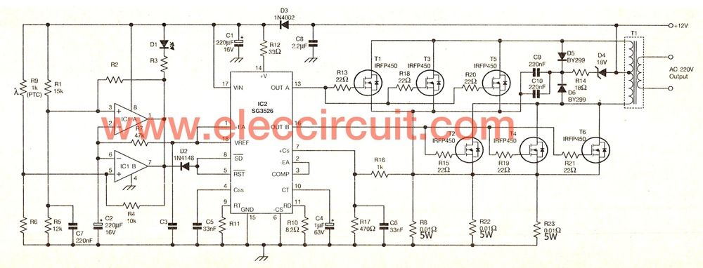 500w power inverter circuit using sg3526 irfp540 open circuit diagram this is 500w power inverter circuit that modify from 200w inverter it use sg3526 and