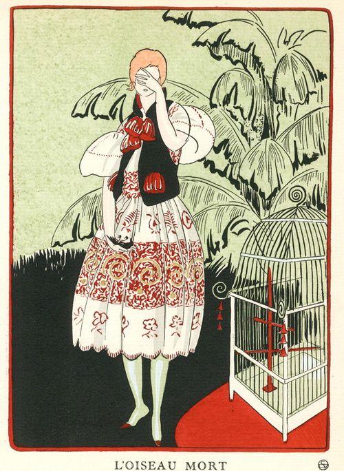 The Dead Bird; Fashion illustration for Gazette du Bon Ton, by L'Hom c.1920