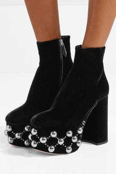 94a9f1604b20 Miu Miu - Studded Velvet Platform Boots - Black