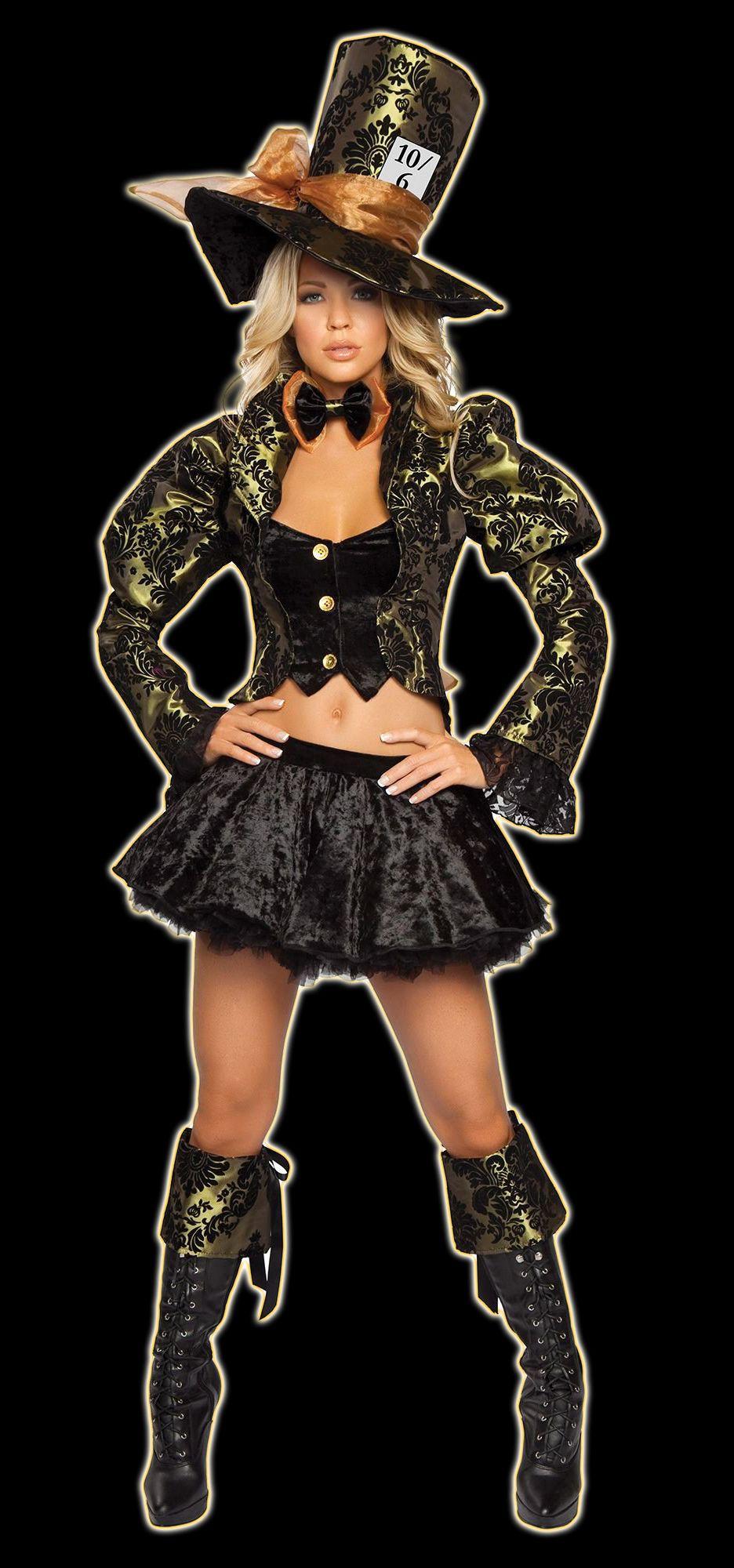 Black & Gold Tea Party Tease Mad Hatter Adult Costume. I really like ...