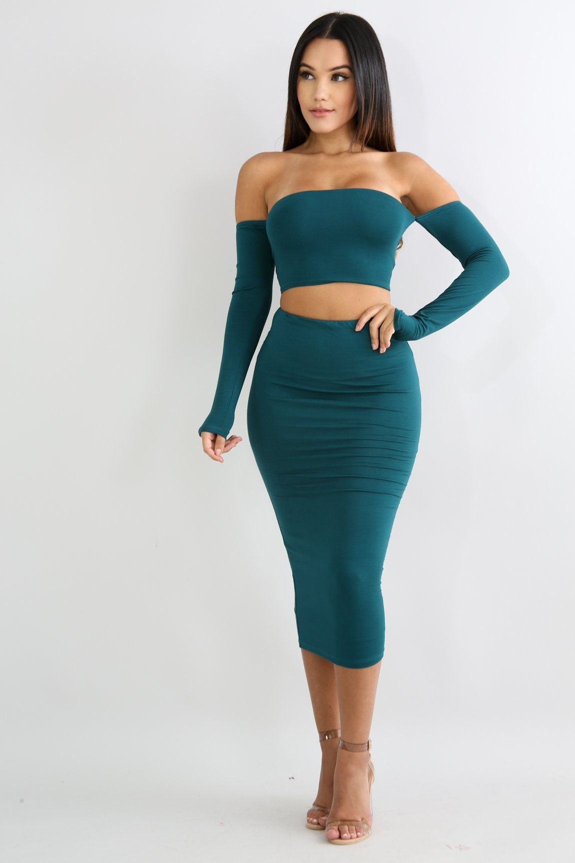 b64f3877d01c JERSEY KNIT HIGH WAISTED MIDI SKIRT SET - GREEN | Products | Fashion ...