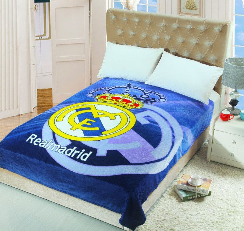 Real Madrid Football Club Team Bedding Super Soft Coral Fleece Inspiration Real Madrid Throw Blanket