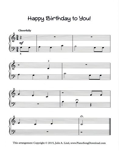Happy Birthday To You Free Piano Sheet Music To Print With