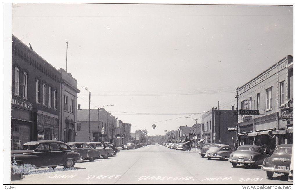 Rp Main Street Gladstone Michigan 30 40s Delcampe Com