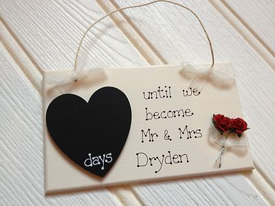 Personalised Wedding Countdown Plaque Chalkboard Engagement gift Bride to be