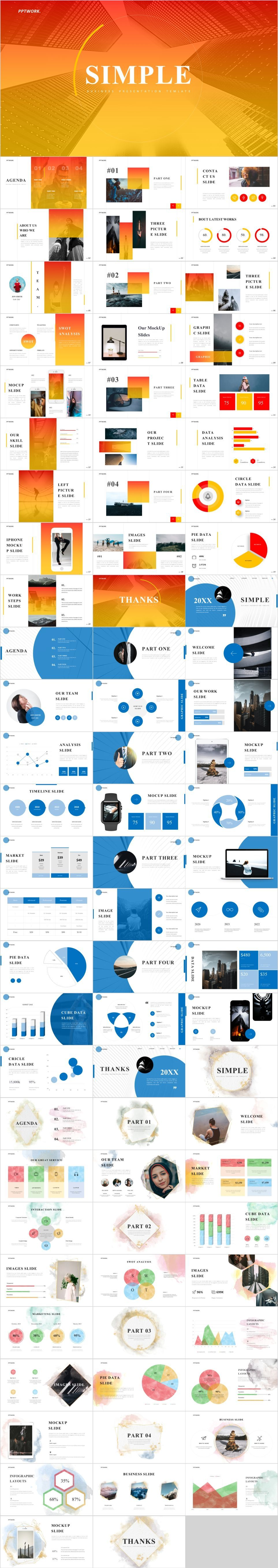 3 in 1 simple report PowerPoint templatesThe highest quality PowerPoint Templates and Keynote Templates download