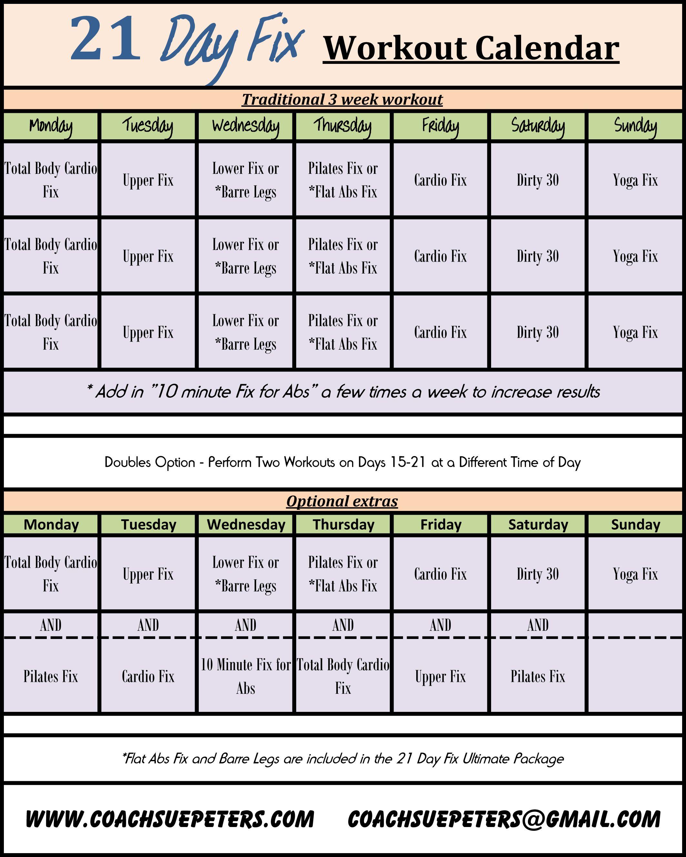 Calendario 21 Day Fix.21 Day Fix Calendar Fitness Deportes