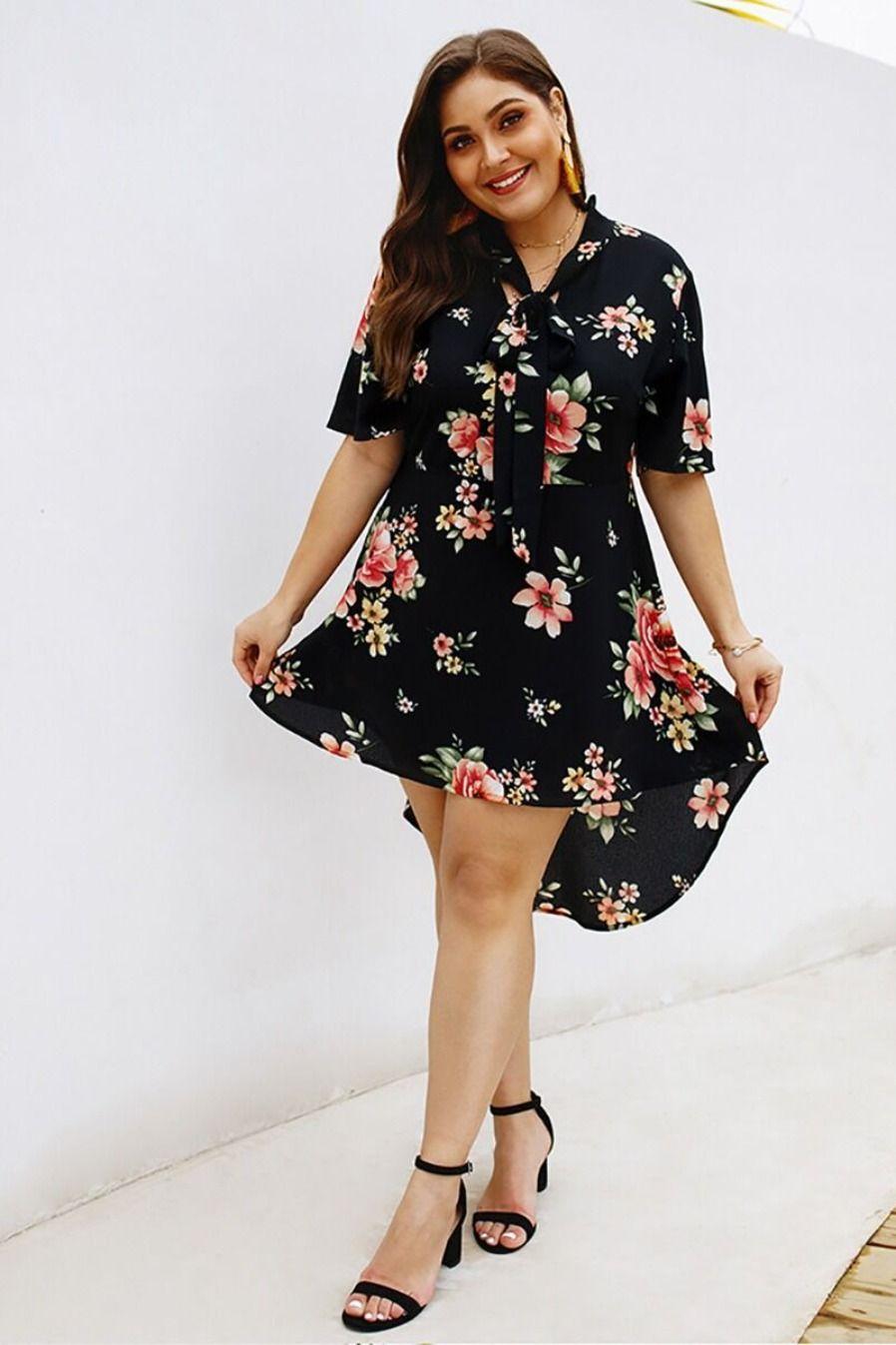 #dress #plussize #plussizedress #floraldress #tie #holiday #chic #wholesale
