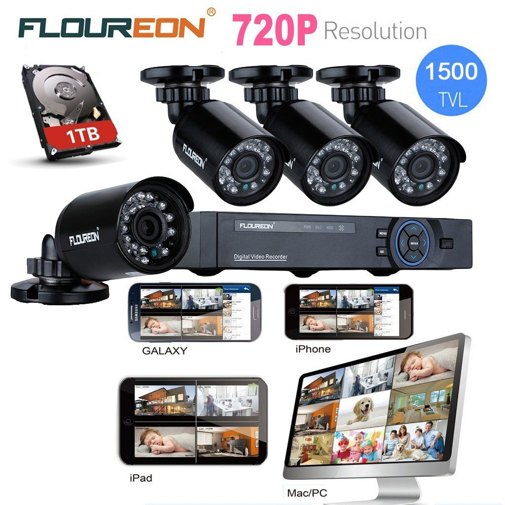 floureon 8ch 720p ahd hdmi dvr and 4x 1 0mp outdoor 1500tvl ir cut