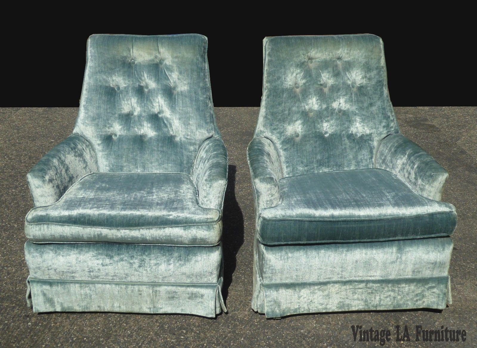 Best Pair Vintage Mid Century Tufted Blue Velvet Swivel Chairs 400 x 300