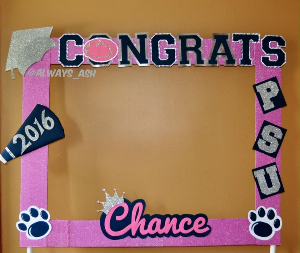 Graduation photo booth frame Penn State University pink party ...