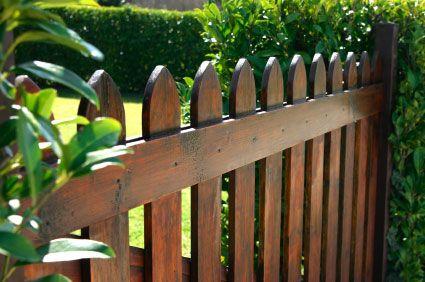 dark stained fence Backyard fences, Garden gates, Wood
