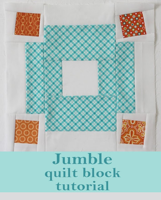 "Jumble Quilt Block pattern is part of Quilt block tutorial, Quilt block patterns, Easy quilt patterns, Quilt blocks, Quilt block pattern, Pattern blocks - It's once again my month to be the quilter for our IMAGINE at do  Good Stitches bee  It's always tough to choose which block we'll do and then once I do that, choosing the colors is a whole other problem  What's the problem you ask  Well, there are so many gorgeous color combinations   it's tough to choose just one  For our block this month I finally decided on these colors Aqua and orange   one of my current favorite combos! Here is the block we'll be doing I'm calling this block ""Jumble"" because of how all of the scrappy corner squares will look when the quilt top is complete [printable version of these instructions are available here] To make this 12 5"" block you need 1 (white) 3 5"" square 4 (white) 2"" x 6 5"" 8 (white) 2"" x 2 5"" 8 (white) 2"" x 5 5"" 2 (fabric A) 2"" x 3 5"" 2 (fabric A) 3 5"" x 6 5"" 2 (fabric A) 2"" x 6 5"" 4 (fabric B,C,D,E) 2 5"" square Step 1 To each of the 2 5"" squares (fabric B,C,D,E) sew white (2"" x 2 5"") strips to the top and bottom  Press  Add the white (2"" x 5 5"") strips to the sides  Press  Cut this square down to 3 5"" (rotate a little or none at all  you choose!) Step 2 Sew 2 (fabric A) 2"" x 3 5"" rectangles to the top and bottom of the (white) 3 5"" square  Press seams away from center  Next, sew two (fabric A) 3 5"" x 6 5"" rectangles to the sides  Press seams away from center  Then sew two (white) 2"" x 6 5"" strips to the sides  Press seams toward the center  Step 3 Sew the two remaining (white) 2"" x 6 5"" strips to the two (fabric A) 2"" x 6 5"" strips  Press seams toward fabric A  To each end of these strips sew one of the squares from step 1  Press seams toward end squares  Step 4 Assemble block as shown below  Press seams  Trim to 12 5"" if necessary  There you go One Jumble block completed! To print the instructions for the Jumble quilt block, click here"