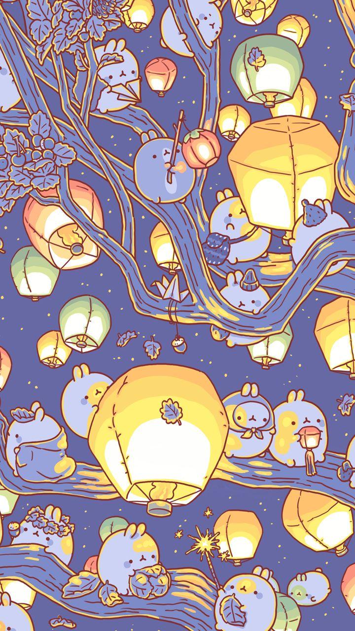 Molang lantern series kawaii wallpaper molang