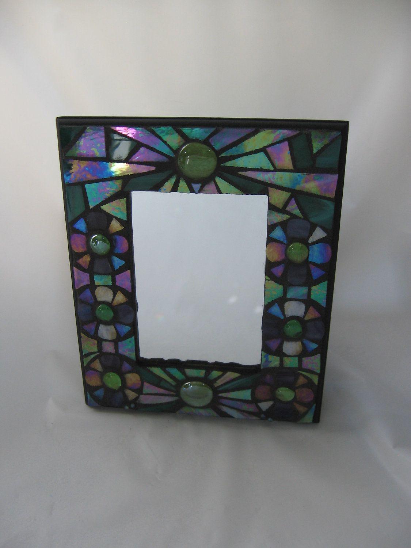 Iridized Aqua Green & Purple Stained Glass Mosaic Mirror Oil Slick ...