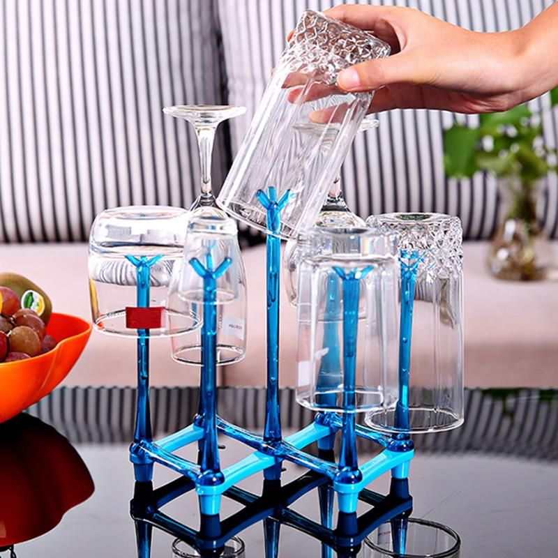 Simple Folding Glass Stand Wine Glasses Cup Holder Kitchen