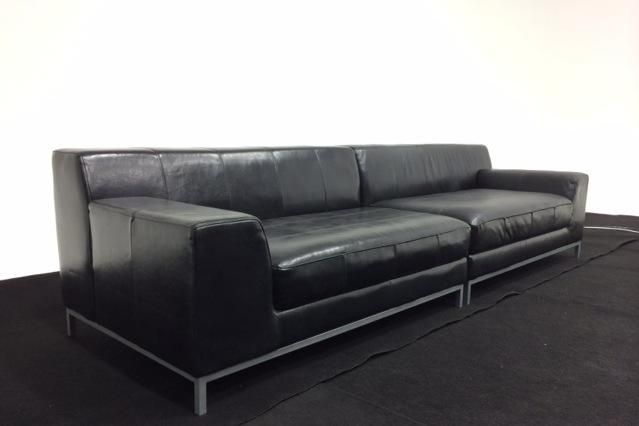 Astounding Ikea Modern Black Kramfors Leather Sectional Sofa Fleapop Inzonedesignstudio Interior Chair Design Inzonedesignstudiocom