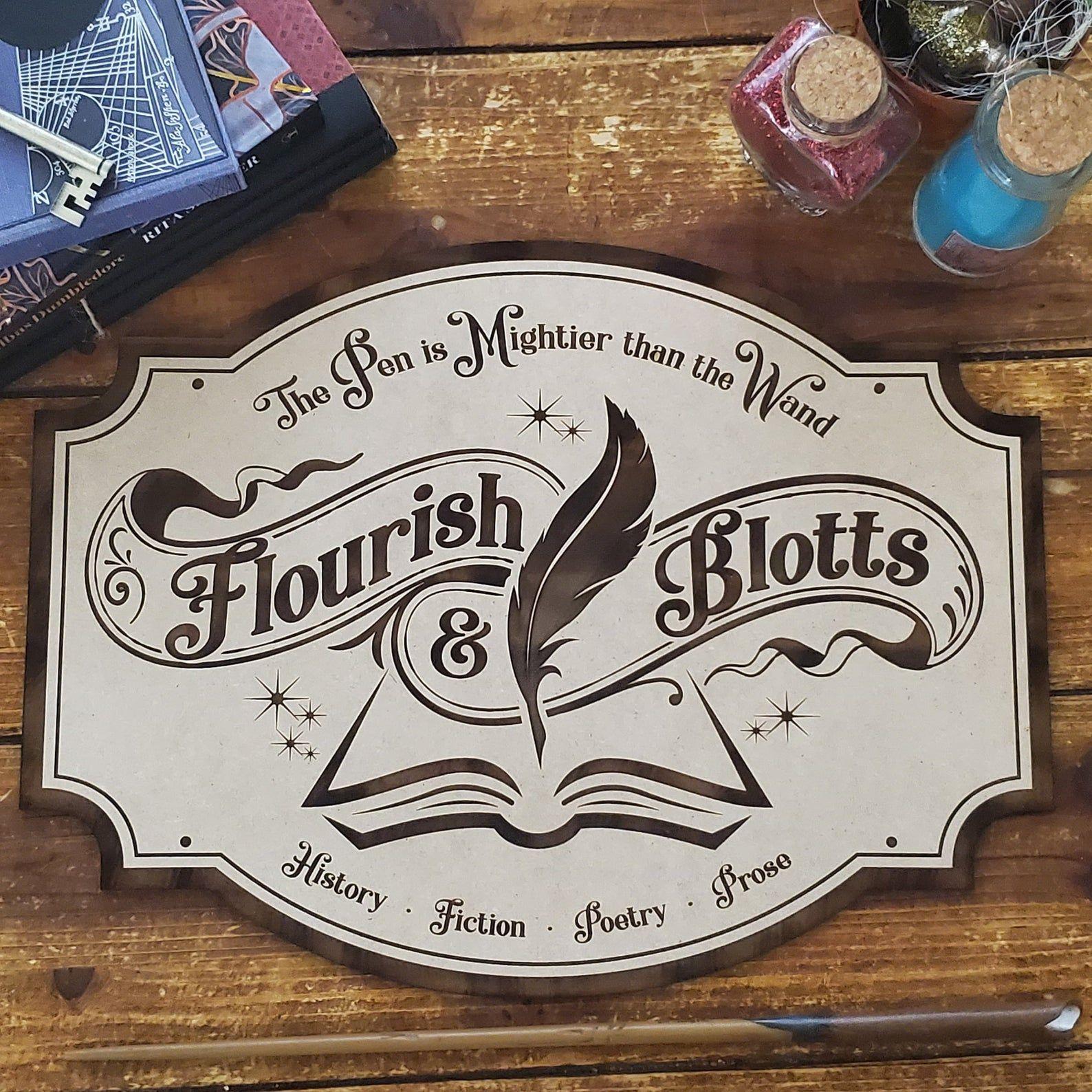 Handmade Flourish and Blotts Harry Potter Inspired Sign