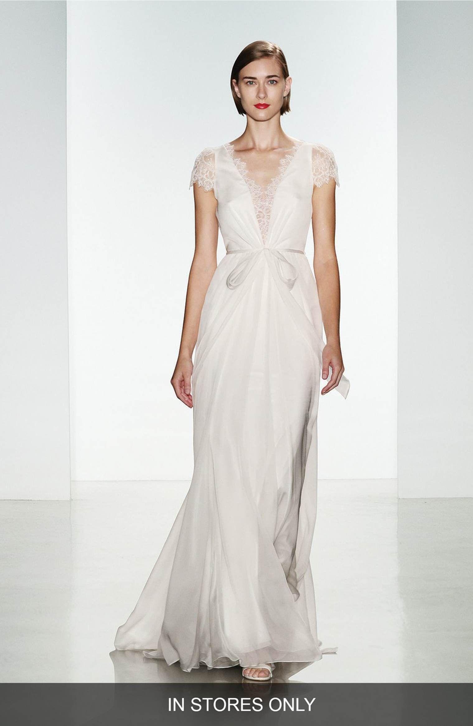 e6d8df4c2b6 Main Image - Christos Bridal  Lainee  Silk Chiffon   Lace Cap Sleeve Gown (
