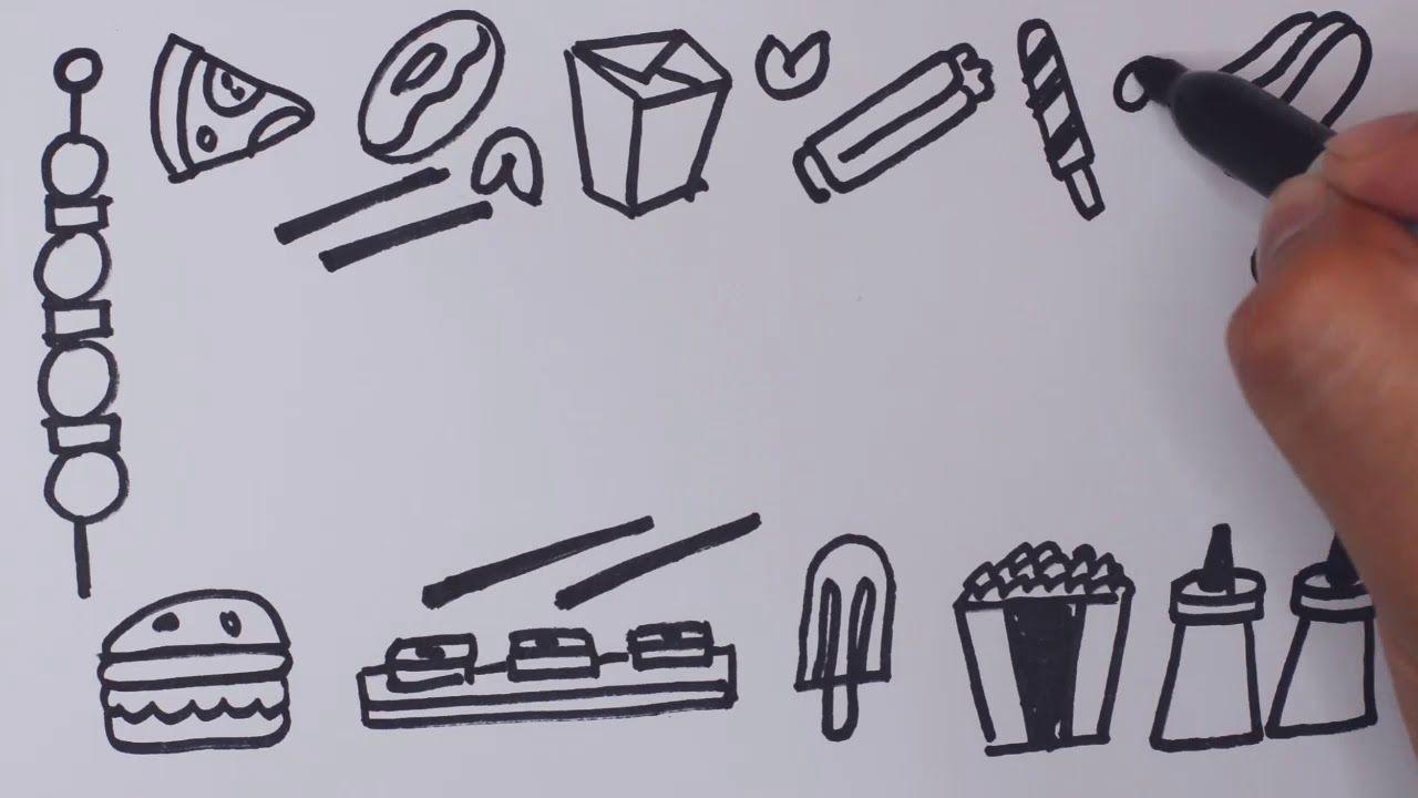 Fast Food Speed Drawing رسم إطار للوحة أكل سريع برغر بيتزا شيش طاووق بطاطس Chocolate E 9