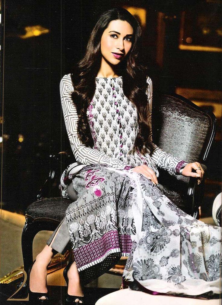 Karishma Kapoor in white and grey Pakistani Suit by Faraaz Mannan