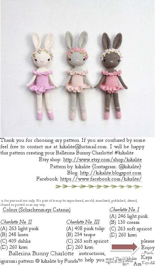 Ballerina Bunny Kika Lite | Crochet | Embroidery