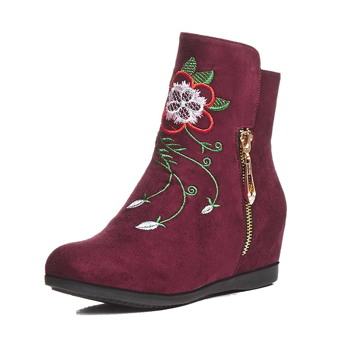 Women's Assorted Color Imitated Suede Kitten-Heels Zipper Round Closed Toe Boots
