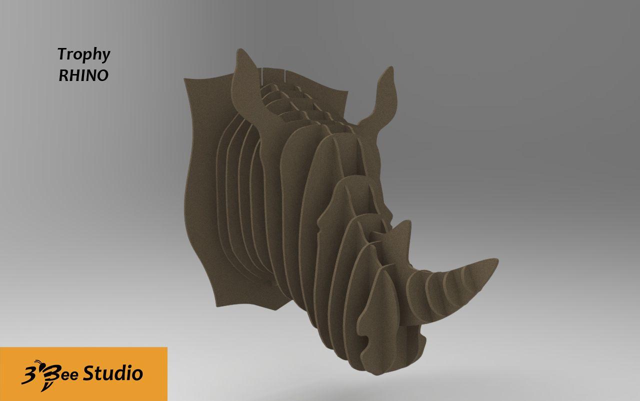 Rhino Head Trophy 3d Puzzle Plan Vector File For Cnc 3bee Studio  # Beestudio Muebles